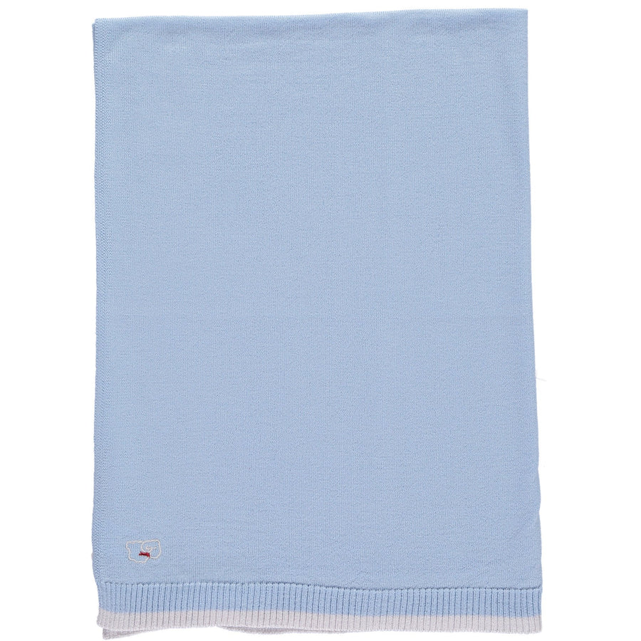 Merino Knitted Lightweight Baby Blanket - Pearl Grey & Blue