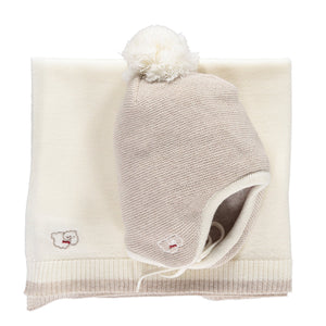 Scarlet Ribbon Baby Hat & Blanket Gift Set - Oatmeal & White