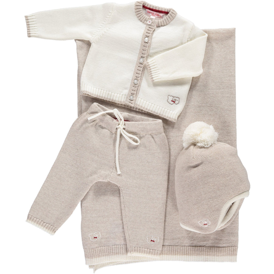 Scarlet Ribbon Baby Gift Set - Cardigan & Leggings, White & Oatmeal