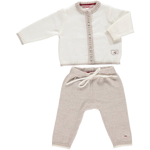 Merino Baby Cardigan & Leggings Set - White & Oatmeal