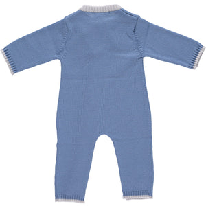 Merino Zip-Up Baby Daysuit - Cornflower Blue