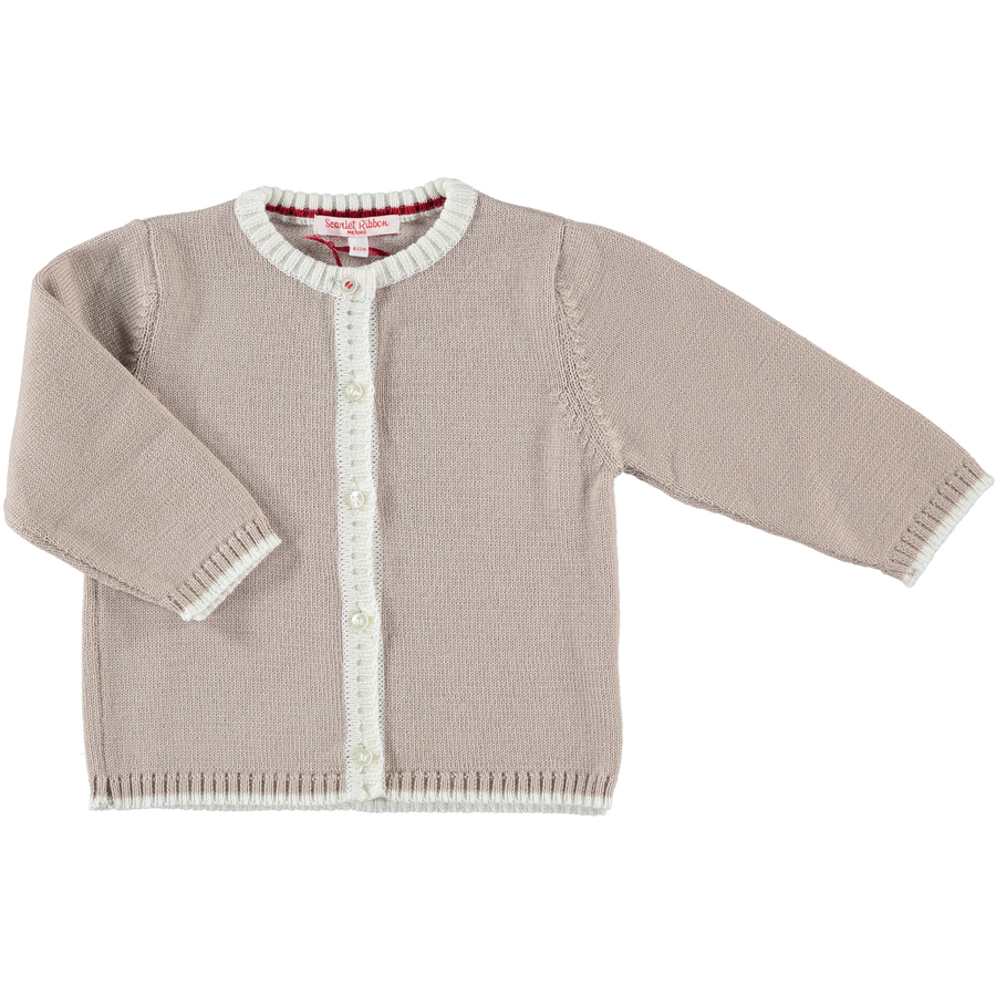 Merino Baby Cardigan & Leggings Set - Biscuit & White