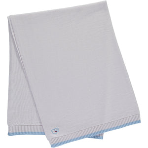 Merino Knitted Baby Blanket - Pearl Grey & Blue