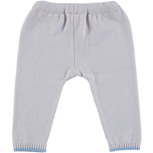 Merino Knitted Baby Leggings - Pearl Grey & Blue