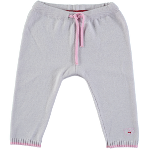 Merino Knitted Baby Leggings - Pearl Grey & Rose