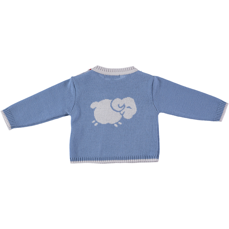 Merino Baby Jumper with Sheep Motif - Beau Blue