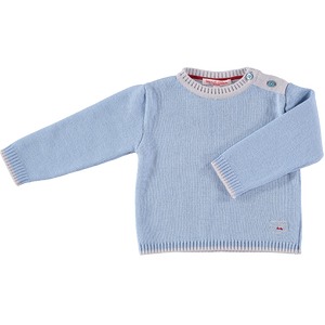 Merino Baby Jumper with Sheep Motif - Cornflower Blue