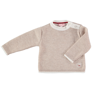 Merino Baby Jumper with Sheep Motif - Oatmeal