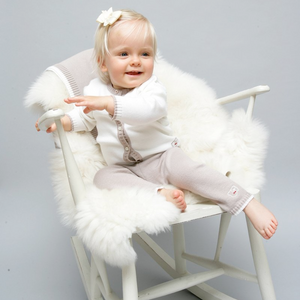 Merino Knitted Baby Leggings - Biscuit