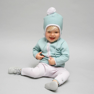 Merino Knitted Baby Leggings - Pearl Grey & Sage