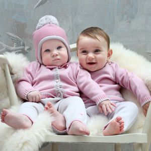 Merino Baby Cardigan & Leggings Set - Rose