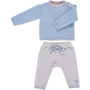 Merino Baby Cardigan & Leggings Set - Beau Blue