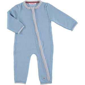 Merino Zip-Up Baby Daysuit - Beau Blue