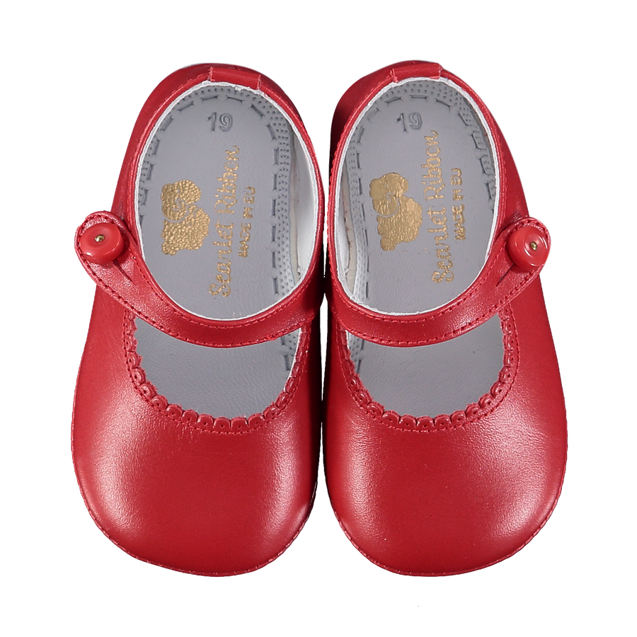 Soft Leather Baby 'Lucy' Shoes - Scarlet