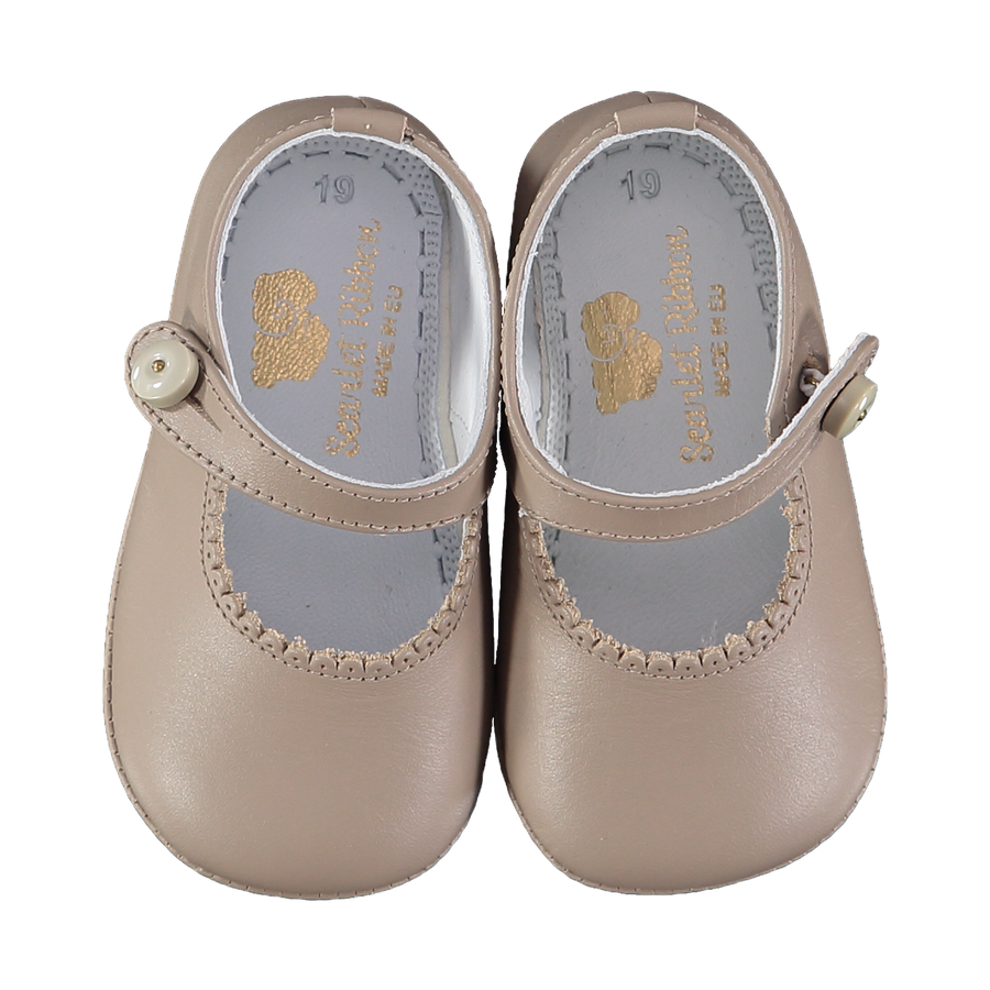 Soft Leather Baby 'Lucy' Shoes - Taupe
