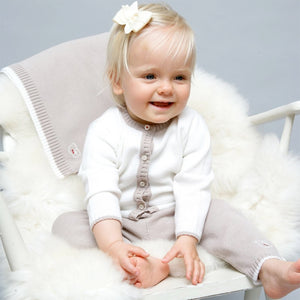 Merino Baby Cardigan & Leggings Set - White & Biscuit