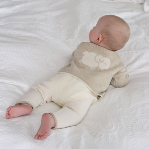 Merino Knitted Baby Leggings - White & Oatmeal