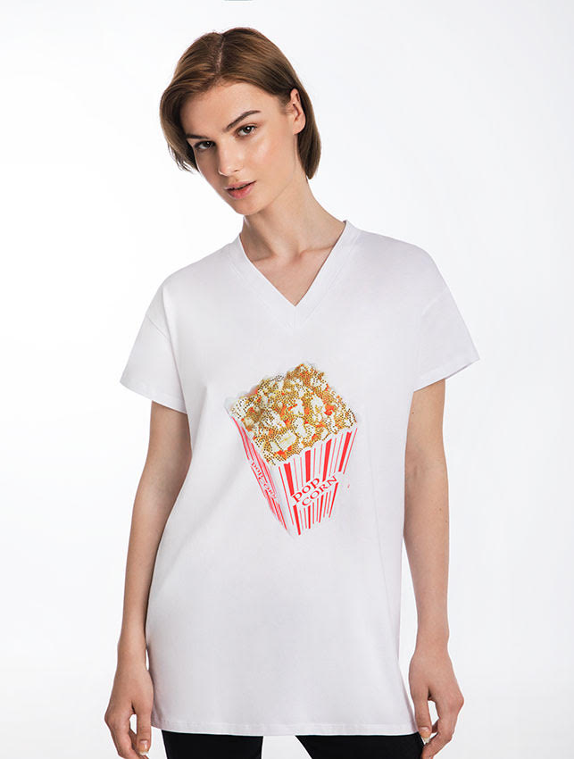 Movie Night Popcorn T-Shirt Dress
