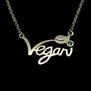 Silver Vegan Necklace Vegan Pendant
