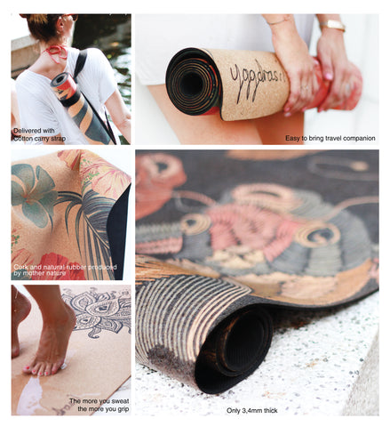 Eco friendly and organic non slip cork yoga mat with print from Yggdrasil by Sweden | ekologisk yogamatta i kork med tryck
