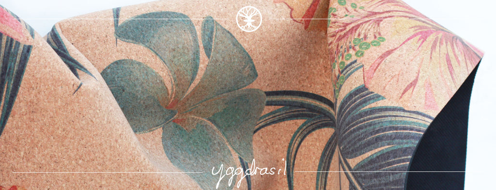 Anti-slip yoga mat in cork with amazing prints | Yggdrasil by Sweden