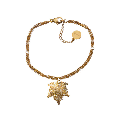 Nature Divine Bracelet Mini with leaf pendant - Gold plated steel | Yggdrasil by Sweden jewelry / smycken