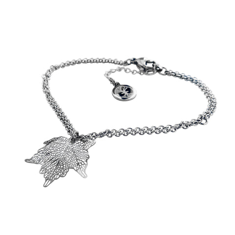 Nature Divine Bracelet Mini with leaf pendant - Stainless Steel | Yggdrasil by Sweden jewelry / smycken armband med löv