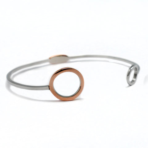 Delicately Connected cuff Bracelet - Rose Gold & Stainless Steel, adjustable size | Yggdrasil by Sweden jewelry / smycken stelt armband