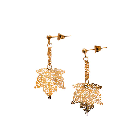 Nature Divine leaf Earring Mini - Gold plated steel | Yggdrasil by Sweden jewlery / smycken små örhängen löv