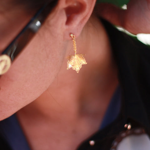 Nature Divine leaf Earring Mini - Gold plated steel | Yggdrasil by Sweden jewlery / smycken