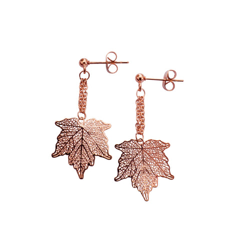 Nature Divine leaf Earrings Mini - Rose Gold plated steel | Yggdrasil by Sweden jewelry / smycken små ärhängen löv