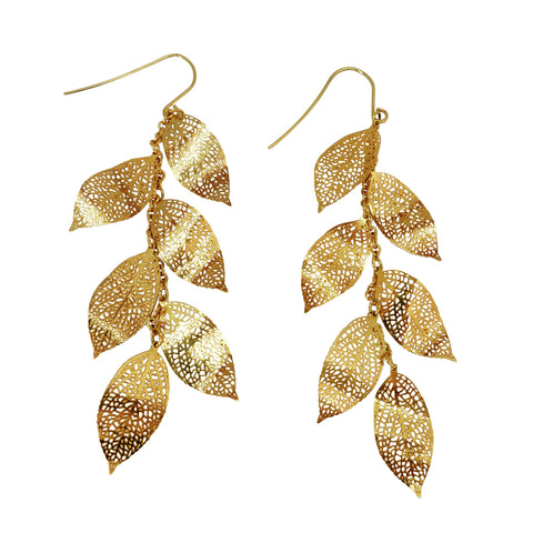 Nature Divine Leaf Earrings Long - Gold plated steel | Yggdrasil by Sweden jewlery / smycken örhängen med löv