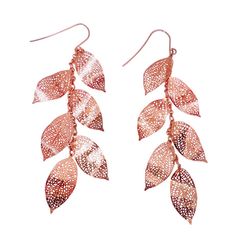 Nature Divine Leaf Earrings Long - Rose Gold plated steel | Yggdrasil by Sweden jewelry / smycken örhängen löv