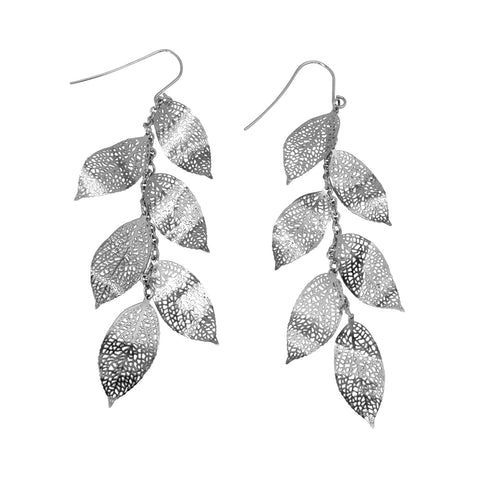 Nature Divine Leaf Earrings Long - Stainless Steel | Yggdrasil by Sweden jewelry / smycken örhängen med löv