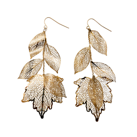 Nature Divine long Leaf Earrings  - Gold plated steel | Yggdrasil by Sweden jewelry / smycken långa örhängen löv