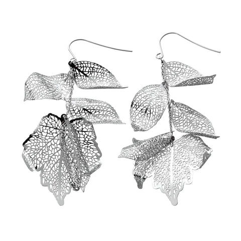 Nature Divine long Leaf Earrings - Stainless Steel | Yggdrasil by Sweden jewelry / smycken örhängen med löv