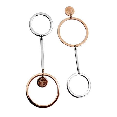 Connected B-Unique Earring - Rose Gold & Stainless Steel
