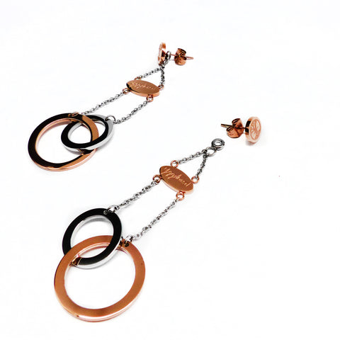 Connected Earring - Rose Gold & Stainless Steel