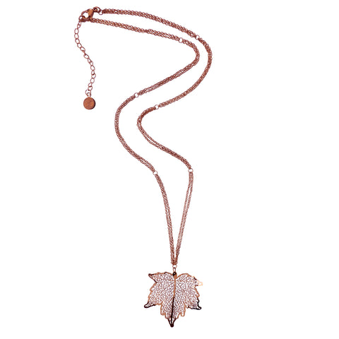 Nature Divine Leaf Necklace Midi - Rose Gold plated steel | Yggdrasil by Sweden jewelry / smycken halsband löv