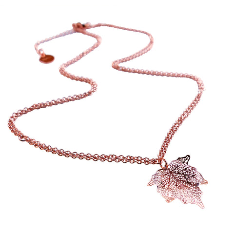 Nature Divine leaf Necklace Mini - Rose Gold plated steel | Yggdrasil by Sweden jewelry / smycken kort halsband löv rosé