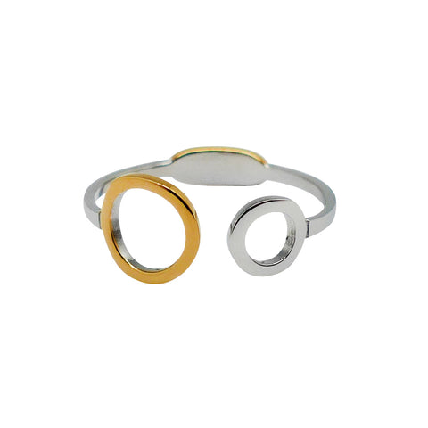 Delicately Connected Ring - Gold & Stainless Steel