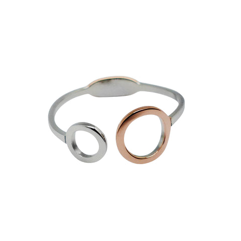 Delicately Connected Ring - Rose Gold & Stainless Steel