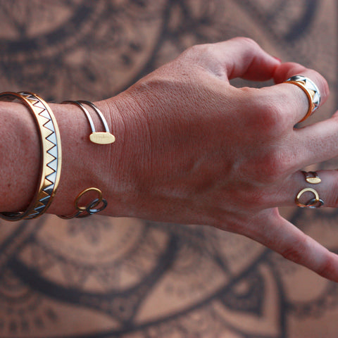 Connected cuff Bracelet - Gold & Stainless Steel | Yggdrasil by Sweden jewelry / smycken stelt armband