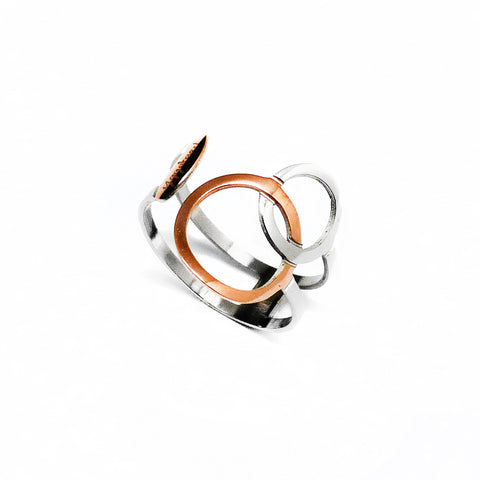 Connected Ring - Rose Gold & Stainless Steel, adjustable size | Yggdrasil by Sweden jewelry / smycken ställbar ring