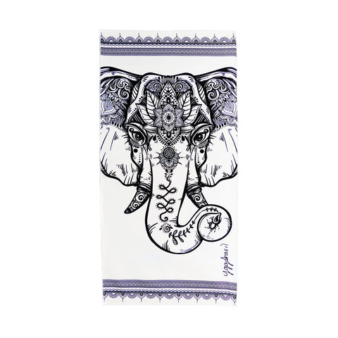 Microfiber sport and yoga towel black & white with print The powerful mind elephant | Yggdrasil by Sweden mikrofiber handduk med tryck