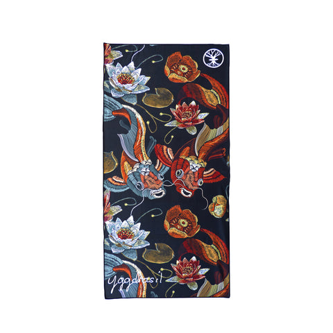 Microfiber sport and yoga towel black with print Yellow River koi fish | Yggdrasil by Sweden mikrofiber handduk med tryck