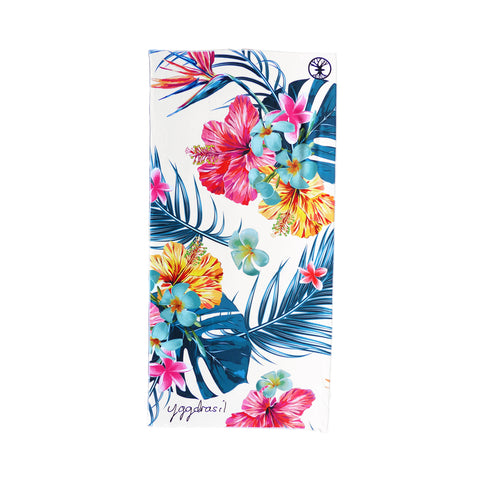 Microfiber sport and yoga towel white with print Tropical tranquility palm leaf and flowers