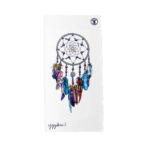 Microfiber sport and yoga towel white with print Dreamers Search dream catcher