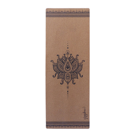 Anti-slip cork yoga mat with print Inner Divine