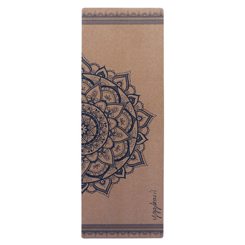 Anti-slip cork yoga mat with print Let Your Mind Run Free Mandala sign